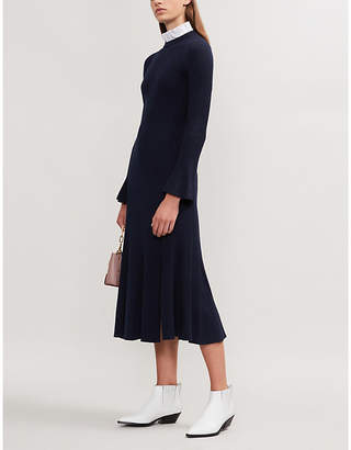 Sandro Contrast collar knitted midi dress