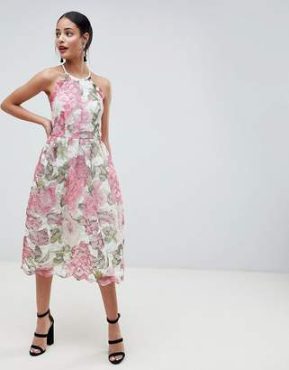 Asos DESIGN Pinny Prom Midi Dress In Floral Lace