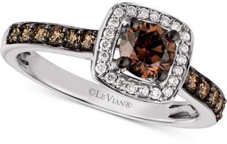 LeVian Le Vian Chocolatier® Diamond Halo Ring (3/4 ct. t.w.) in 14k White Gold