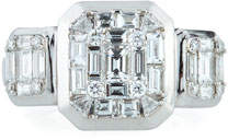 ZYDO 18k White Gold Invisible-Set Diamond Ring, Size 6.5