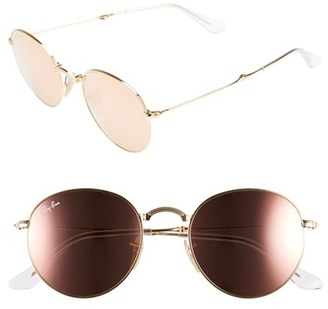 Women's Ray-Ban Icons 50Mm Folding Sunglasses - Gold/ Brown Mirror Pink $225 thestylecure.com