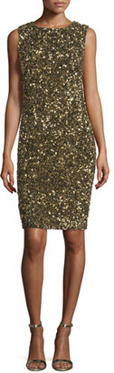 Theia Sleeveless Sequin Cowl-Back Cocktail Dress, Gold $795 thestylecure.com