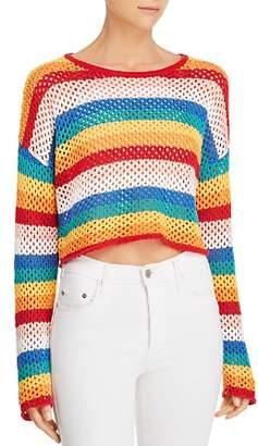 Honey Punch Rainbow-Stripe Cropped Crochet Sweater