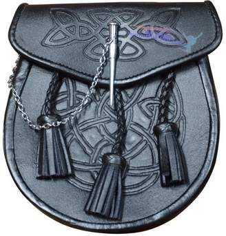 Celtic All Kilts Sports EMBOSSED LEATHER LATCH PIN KILT SPORRAN With Belt and Chain