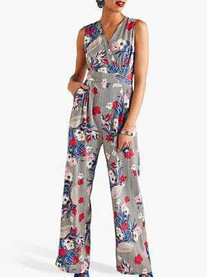 Yumi Stripe Floral Print Sleeveless Jumpsuit, Multi