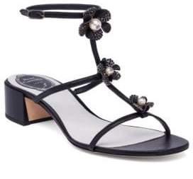 Rene Caovilla Embellished Leather T-Strap Block Heel Sandals