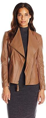 Via Spiga Women's Real Lightweight Leather and Ponte Jacket