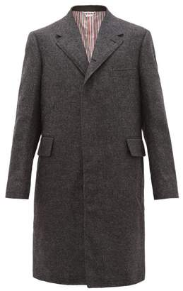 Thom Browne Single Breasted Brushed Woollen Twill Overcoat - Mens - Grey