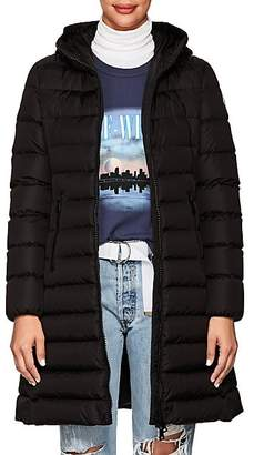 Moncler Women's Leather-Trimmed Down-Quilted Coat - Black