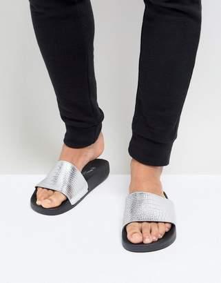 Brave Soul Croc Print Slider Flip Flops In Silver