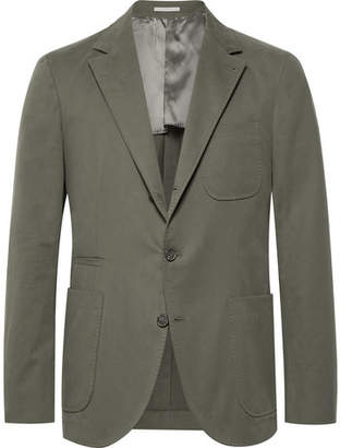 Brunello Cucinelli Army-Green Slim-Fit Stretch Cotton and Cashmere-Blend Suit Jacket - Army green