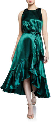Taylor Asymmetric Ruffle Satin Dress