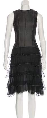 Oscar de la Renta Sheer Ruffle-Accented Dress