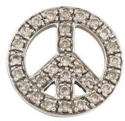 14K Diamond Peace Sign Pendant
