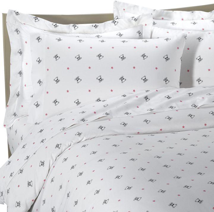Sin in Linen™ White Skullstar Duvet Cover, 100% Cotton - White