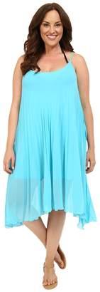 Bleu Rod Beattie Plus Size Over the Edge A-Line Pleated Dress Cover-Up Women's Swimwear