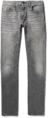 Saint Laurent Skinny-Fit 15cm Hem Washed-Denim Jeans $590 thestylecure.com