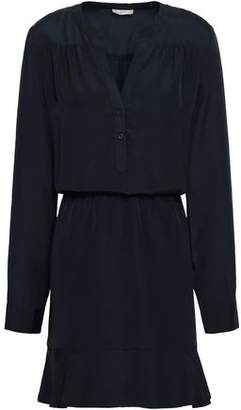 Joie Gathered Fluted Crepe De Chine Mini Dress