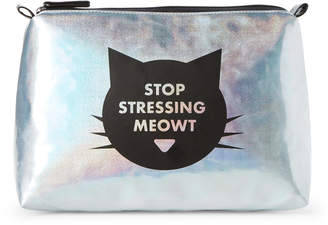 Stella & Max Silver Stop Stressing Meowt Cosmetic Bag