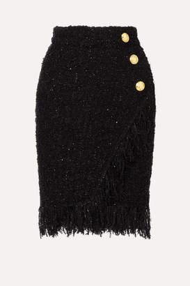 Balmain Wrap-effect Button-embellished Fringed Metallic Tweed Skirt - Black 07b82ba921