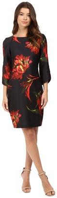 Christin Michaels Jeane Floral Print 3/4 Sleeve Dress $94 thestylecure.com