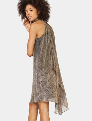 Halston Mock Neck Metallic Jersey Dress