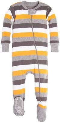 Burt's Bees Tri Color Stripe Organic Baby Zip Up Footed Pajamas