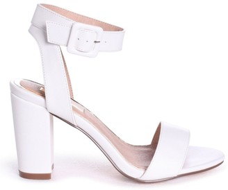 673f3252420 Linzi MILLIE - White Nappa Open Toe Block Heel With Ankle Strap And Buckle  Detail