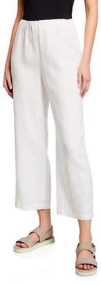 Eileen Fisher Cropped Organic Linen Straight-Leg Pants