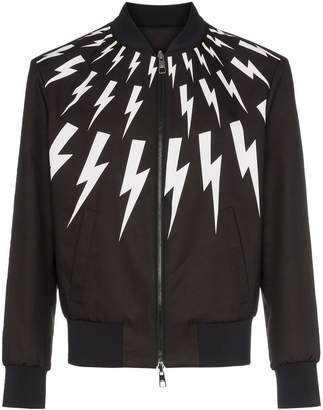 Neil Barrett lightning bolt print reversible bomber jacket