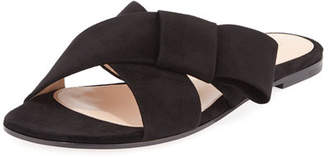 Gianvito Rossi Flat Suede Ribbon Slide Sandal