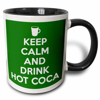 3dRose Keep calm and drink hot cocoa. Green. - Two Tone Black Mug, 11-ounce