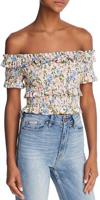 ASTR the Label ASTR Tori Smocked Off-the-Shoulder Cropped Top