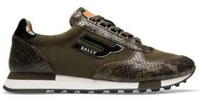 Bally Men's Gavino Snakeskin Runner - Green - Size 9 D