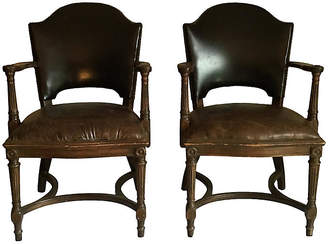 One Kings Lane Vintage Leather Nailhead Chairs - Set of 2 - Collections77