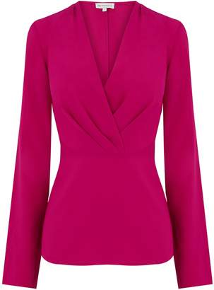 Next Womens Warehouse Pink Pleat Long Sleeve Wrap Top