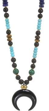 Nest Malachite, Turquoise, Lapis& Horn Long Pendant Necklace