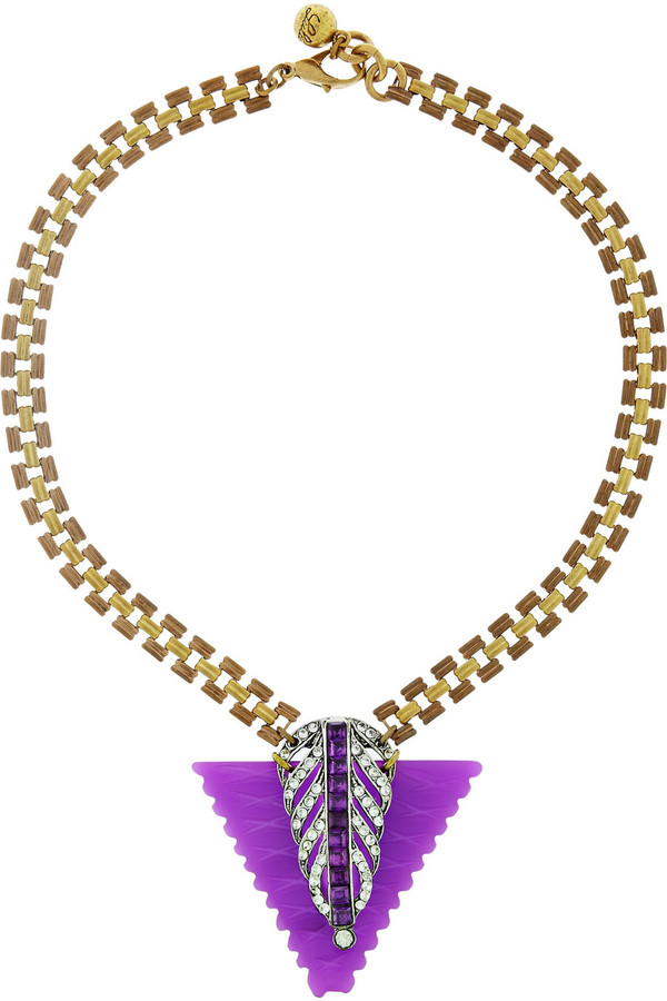 Lulu Frost Gold-tone crystal and resin necklace