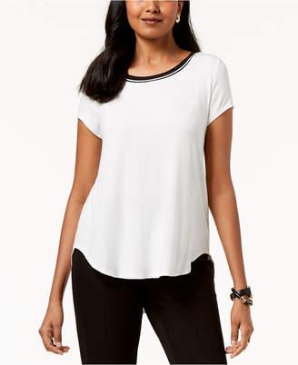 Alfani Petite Striped-Trim T-Shirt