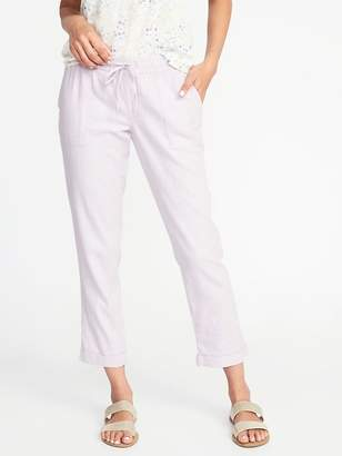 Old Navy Mid-Rise Linen-Blend Cropped Pants for Women