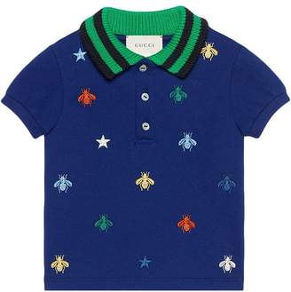 Gucci Kids Baby polo with bees and stars embroidery