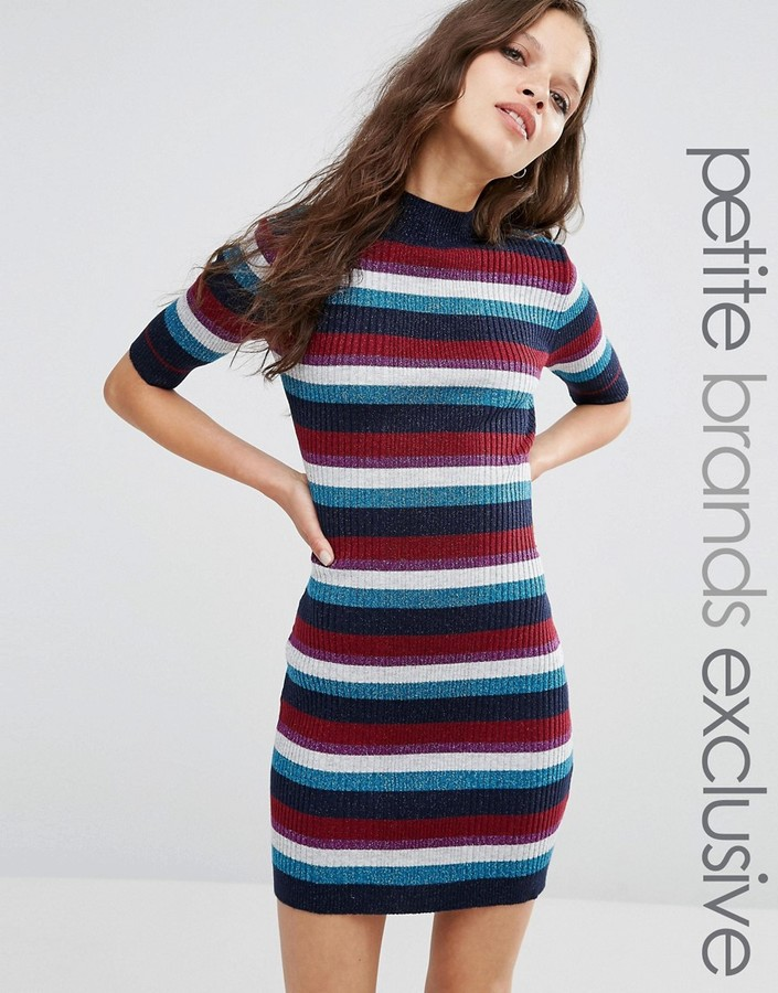 Glamorous Petite Glitter Striped Rib Knitted Midi Dress