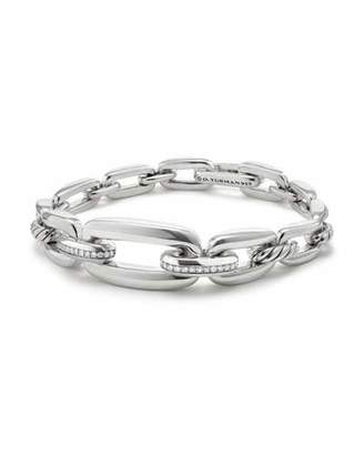David Yurman Wellesley Sterling Silver Link Chain Bracelet with Diamonds