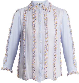 JUPE BY JACKIE Swan embroidered-ruffle silk shirt