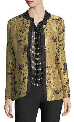 Etro Golden Jacquard Jewel-Button Long-Sleeve Topper Jacket