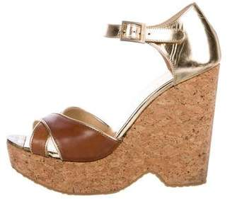 Jimmy Choo Leather Ankle-Strap Wedges