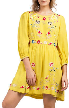 French Connection Saya Long-Sleeve Floral Embroidered Crepe Dress