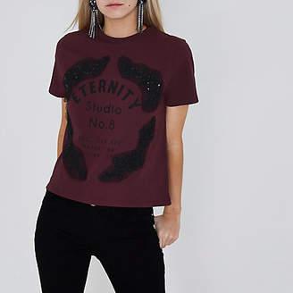 River Island Petite burgundy lace applique T-shirt