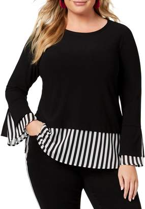 INC International Concepts Plus Striped Twofer Top