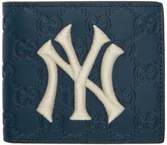 Gucci Navy NY Yankees Edition GG Wallet